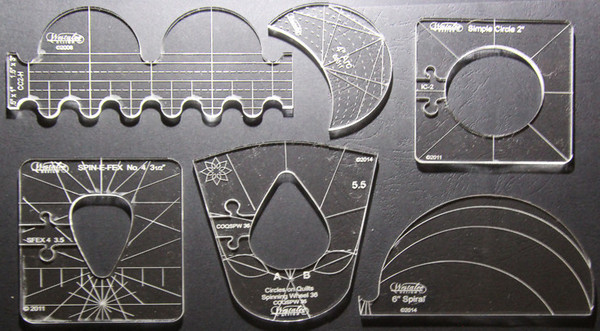 "Westalee Sampler Set 1, 6 Ruler Templates: 6"" Spiral, Spin-e-fex 4, Circle, 4"" Arc, Clamshell, 2�? Inside Circle, Pins & Locksnohtin"