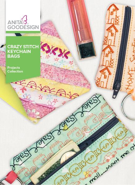Anita Goodesign PROJ87 Crazy Stitch Keychain Bags CDnohtin