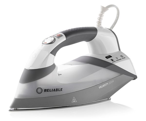 Reliable Velocity 200IR Continuous Steam Sensor Touch Iron 1800W, Sewers Bypass for 8 Minute Auto Shut-Off, 360º Swivel 8.2´ Cord, AntiScale Cartridgenohtin
