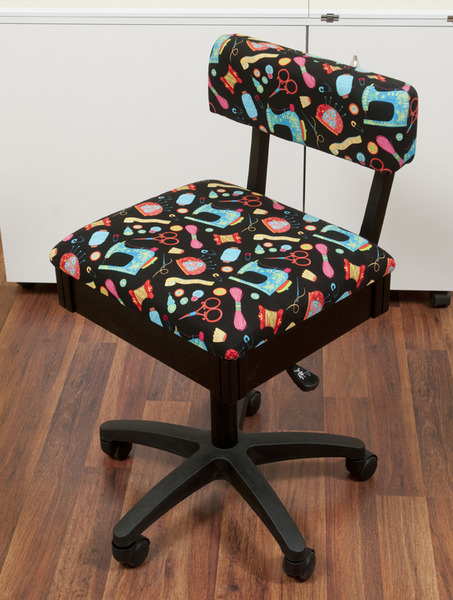 Arrow Hydraulic Chair on 5 Casters with Riley Blake Sewing Notions Fabric on Black, Under Seat Storagenohtin