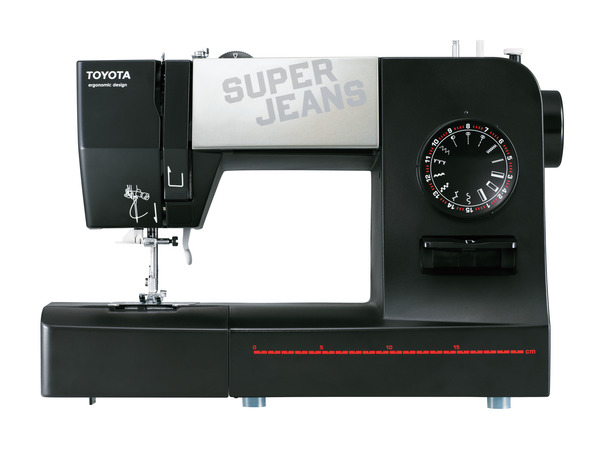 Toyota Super Jeans SJ15 15-Stitch One Dial Freearm Mechanical Sewing Machine with Buttonhole and Patented Gliding Foot over Seamsnohtin