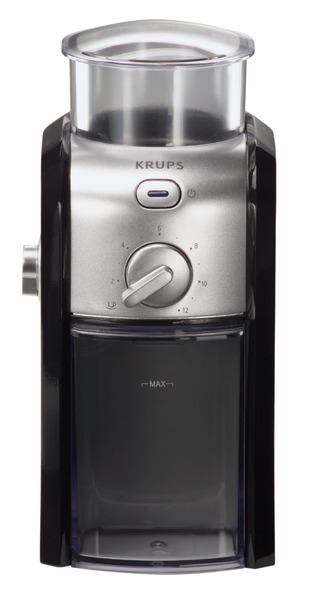 Krups GVX2-12 Cup Black & Metal Burr Grinder GVX212, for up to 8oz Beans, 2-12 Cups of Coffee, 17 Milling Settings, 100W, 3Lb, Brushed Stainless Steel