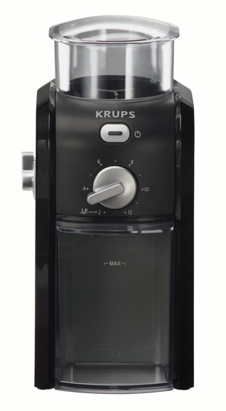 Krups GVX114 Black Burr Grinder, Grinds and Holds up to 8oz, For 2 to 13 Cups of Coffee, Coffee Bean Holder