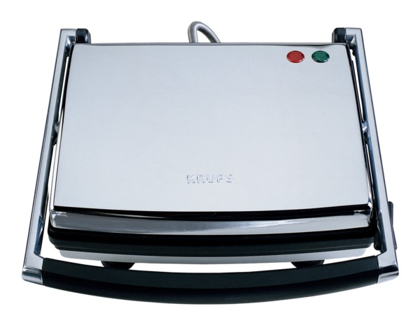 Krups FDE312-75 Chrome Panini Maker Universal Grill, Non Stick Cooking, Floating Hinged Top, Insulated Handle, Ready Light, Recipe Book, Upright Store
