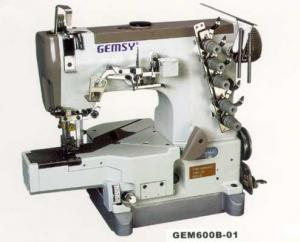 "Gemsy GEM600B-01 Cylinder Bed 2&3 Needle, 1/8 & 1/4"" Top & Bottom Cover Hem Stitch Interlock Machine, 7mm Lift, Diff Feed, KD*Power Stand 6000SPM"