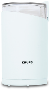 Krups, 203-70, Electric, Coffee Bean, & Spice, Grinder, up to 15 Cup Capacity, Stainless Steel, Power Blade, Grinds, Coarse, to Fine, Lid Safety Switch - White