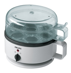 Krups, 230-70, Egg Cooker Express, Boils, and Warms, up to 7 Eggs, Holder, & Lid Washable, Serving Tray, 2 Poaching Trays, Piercer, Water Level Indicator