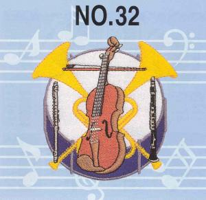 Brother No.32 Musical Instruments Embroidery Card SA332  For  Brother, Bernina Deco 500, 600, 650, White, & Simplicity
