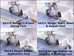 Brother Serger 4 Feet Combo SA210 Piping, SA211 Pearl Bead Sequin, SA212 Elastic & SA213 Gathering Foot for 5234PRW, 1034D, 3034D, 900 Overlocks DVD*