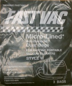 Fast Vac 06.816 / 06.992 Style W 6pk, Package of 6  Vacuum Cleaner Paper Bags, for FastVac FV500 FV-500