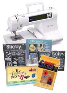 Brother PE150 Embroidery Machine DEMO/ STARTER KIT Amazing Box II, Click 'N Stitch Xtra Digitizing, Panto 4000 Design CD & 18 Madeira Threads