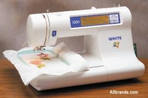 White Viking 3300FS Embroidery Machine, 60 Designs, 3 Alphabets, 3 Hoops & Video - FACTORY SERVICED