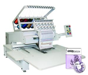 """Great Notions Renaissance Mini 12-Needle, 11.5"""" X 17.5"""" Commercial Embroidery Machine, 180° CAP EQUIPMENT, Roller Stand, Starter Kit & 5000 Designs CD"""