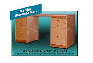 "Put Big Board Hobby Workstation 3 Draser Desks under Optional Big Board 22X59"" Top"
