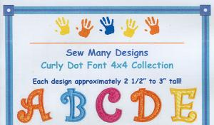Sew Many Designs Upper Case Curly Dot Applique Collection Multi-Formatted CD