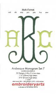 Embroideryarts Arabesque Monogram Set 7 XL Multi-Formattted CD