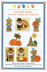 Sew Many Designs We Give Thanks 5 X7 Collection Multi-Formatted CD