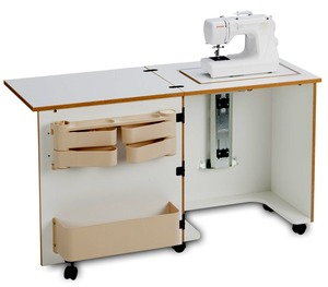 "Sylvia Design 610, Compact, Sewing Machine, Cabinet,  on Casters, Three Position, Air-Lift Platform, Left Leaf, Door Storage, Hinges,  W52""xD20""xH29 3/4"""