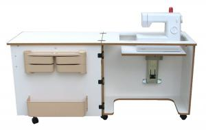 "Sylvia Model 810, Compact Air Lift Platform, Sewing Cabinet, 64""W x 20""D x 30""H, Air-Lift, Large Machine Opening (24.5"" x 12"")"