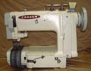 "Consew 4022P Double Chainstitch 4 Thread, 2 Needle Feed 1 3/8"" Gauge, Puller Feed, Cylinder Arm Sewing Machine, 10.5""Arm, 3SPI, KD Power Stand, 4500SPM"