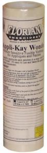 "Floriani FAW93 AppliKay Wonder Repositional Pressure Sensitive Adhesive Fusible Web Stabilizer 9""x3Yds"