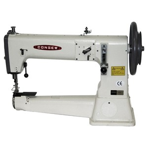 "Consew 754R Heavy Duty 3.25"" Cylinder Arm Needle Feed Industrial Sewing Machine, up to 20mm Lift, 16.5"" Arm, 2.5SPI, 800SPM, Power Stand, 100 Needles"