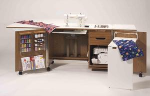 "Fashion, Cabinets, America, 5200, Ultimate, DUAL, Machine, Cabinet, 42x20x30"", Roberts, Sew & Serge, Credenza, Electric Lift, Platform, Notions, Bins, Tray, Plug Ins"