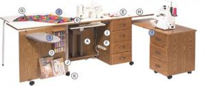 Fashion 4700 Maximum Storage, Large Work Area Sewing Machine Credenza Cabinet on Casters, 42x20x30 inch Dimensions, Electric Lift Platform, Notions Tray