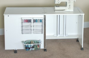 Fashion Cabinets, Roberts 4400 Limited Space Sewing Console w/ Electric Lift, Power Strip, Accessory Bins