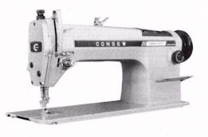 Consew MA292R Fabric High Speed Straight Stitch Industrial Sewing Machine, with Table, Stand, 3450 RPM Motor, 5400 Stitches Per Minute