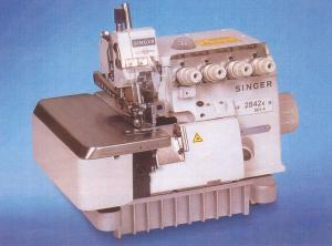 Singer 2842K063-4 High Speed, 5 Thread, Two Needle Industrial Safety Stitch Serger Machine with Assembled Power Stand, 4mm Bight
