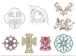 """Brother No. 75,  SA375 Lace Card Small and Large Embroidery Designs Card, 8 designs for a 5 x 7"""", 37 designs for a 4 x 4"""" area"""