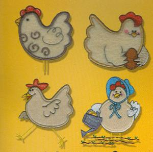 OESD GCSSB-PP11Plush Pals Chickens Applique Embroidery Designs Brother Card