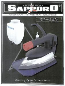 Sapporo SP-527 Gravity Feed Steam Iron. Dimeneralizer and Teflon Iron Shoe are Optional*, 3 Prong Safety Plug on Power Cord