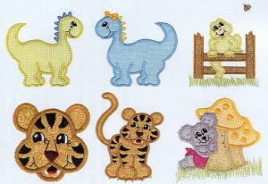 Sew Many Designs Hop, Skip, and Jump Collection Applique tiger frog mouse dinosaur