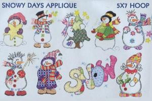 Smartneedle Snowy Days Applique Collection 5X7 Embroidery Designs Multi-Formatted CD
