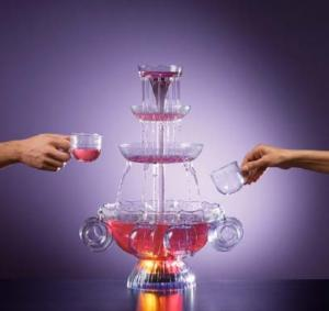 "Nostalgia Electrics LPF-210 Lighted Party fountain, 3 tier cascading tower, 8 x 6 Oz Cups, 1Gallon, 160 Oz liquid, 12"" in diameter, 23 1/2"" high."