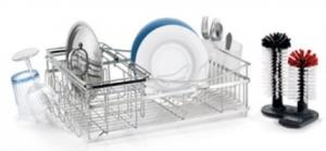 Polder KTH-500 Expandable Modular Dish Rack, Brushed stainless steel, Dual post Glass washer, Wire plate & Cup holders, Cutlery holder & Drain tray