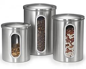 Polder 3346-75 Set of 3 Window Canisters, 2, 3 and 4Qt, View Contents