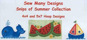 Sew Many Designs Snips of Summer Applique Designs Multi-Formatted CD