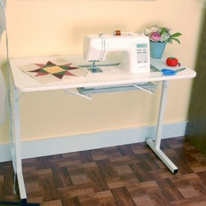 Arrow 98601 Gidget1 Portable White Folding Legs Sewing Machine Table 40x20x28 High With Smaller Opening For And Insert 7 3 8 X 17 1 2 Inches