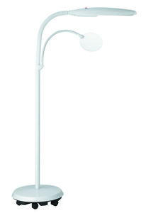 Daylight, U23030-01, Floor Standing, 2 Flexible Arms, Rimless Magnifier, Lens Arm, 18 Watt, True Color, Lamp Bulb, Roller Base, on Casters, Daylight U23030 18W 100W Equiv. Floor Standing Lamp, 2 Flexible Arms, Rimless 1.75X Magnifier Lens Arm, True Color Light, Bulb, Roller Base on Casters