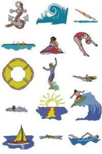 Down Home Dreams 132 Water Sports Embroidery Disk