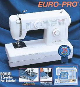 Euro Pro 1260DX 28-Stitch Function Denim Sewing Machine, Metal Head & 9 Feet