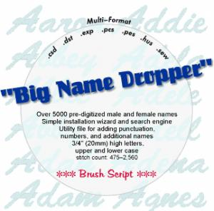 Embroideryarts 01X06 Big Name Dropper Brush Script Embroidery CD