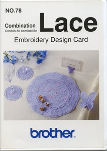 Brother SA378 No.78, 31+8 Combination Lace & up to 4x4 Embroidery Designs Card pes Format also for Babylock, Bernina Deco 500-650, Simplicity, White