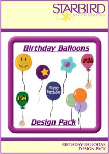 Shirt Designs - Starbird Embroidery Designs Birthday Balloons Design Pack
