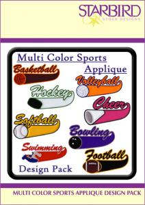 Starbird Embroidery Designs Multi Colored Sports Applique Design Pack