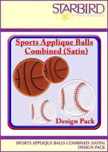 Starbird Embroidery Designs Sports Applique Balls Combined (Satin) Design Pack