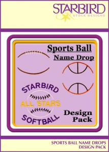 Starbird Embroidery Designs Sports Ball Name Drops Design Pack